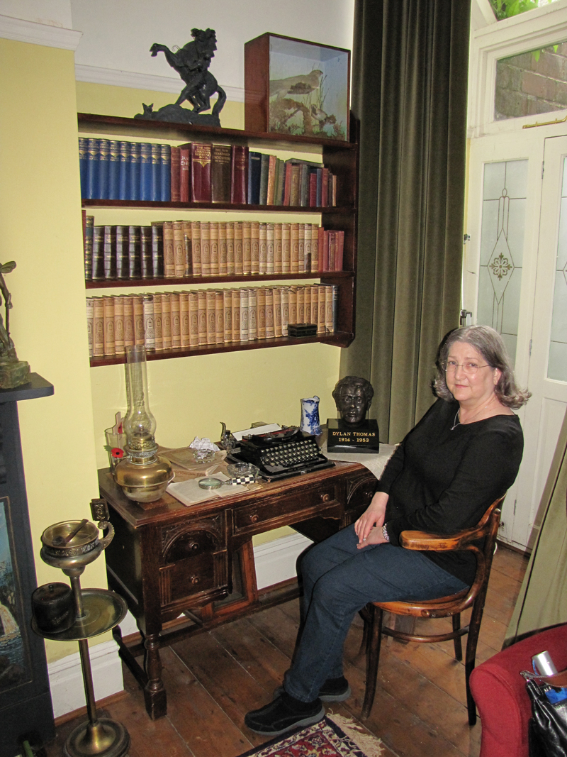 Ann Browning Masters, Ph.D. at childhood home of Dylan Thomas, Swansea, Wales