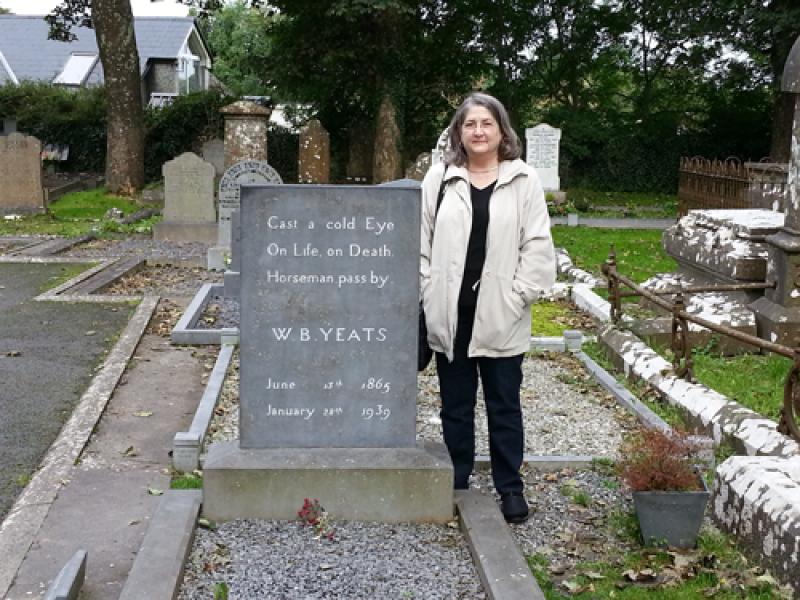 Ann Browning Masters, Ph.D. at W.B. Yeats' gravesite, Drumcliff Cemetery, Republic of Ireland