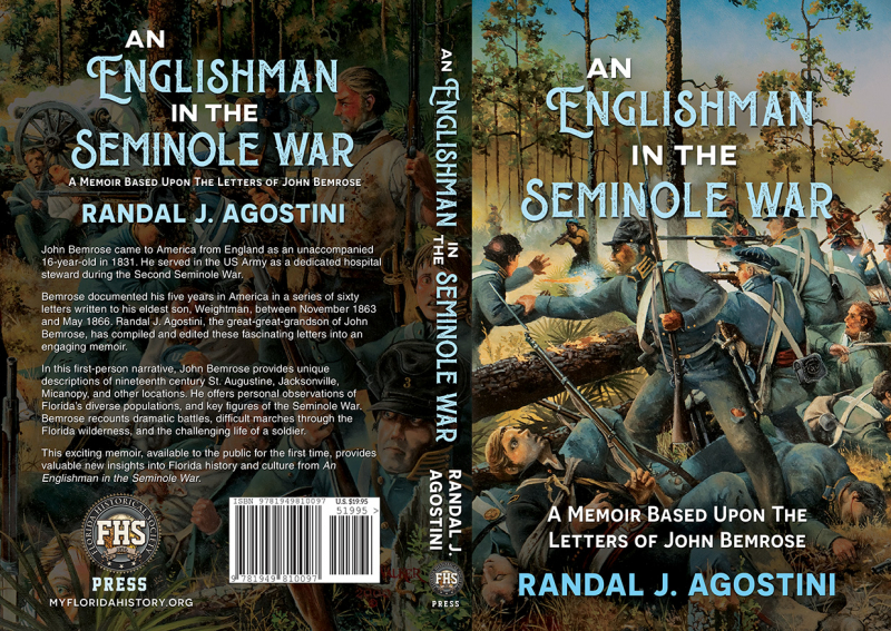 back/spine/front cover of book; An Englishman in the Seminole War