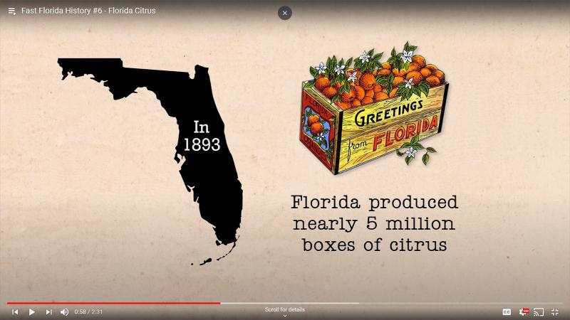 Fast Florida History #6 - 1893 Florida produces near 5 million boxes of citrus