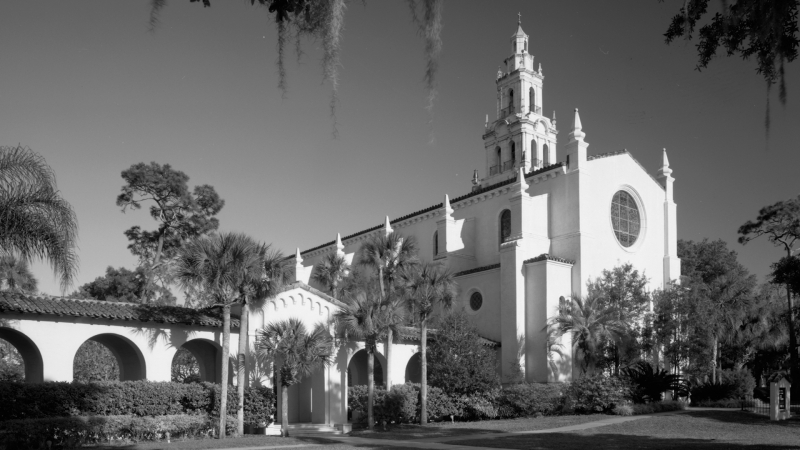 Black and White photograph Rollins College