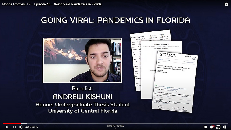 Anddrew Kishuni, Honors Undergraduate Thesis Student, University of Central Florida
